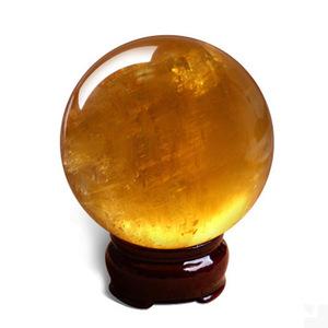 纯天然黄水晶球摆件镇宅风水球居家装饰品乔迁礼品转运招财20cm