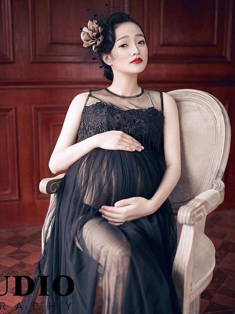 性感写真摄影_孕妇照写真服影楼拍照孕妇装2016新款性感透视蕾丝长裙黑摄影妈咪