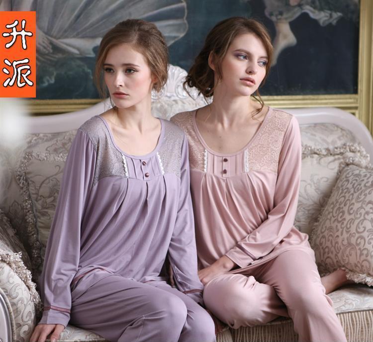 升派正品新款睡衣女士长袖纯棉家居服简单高贵套装纯色一件代发