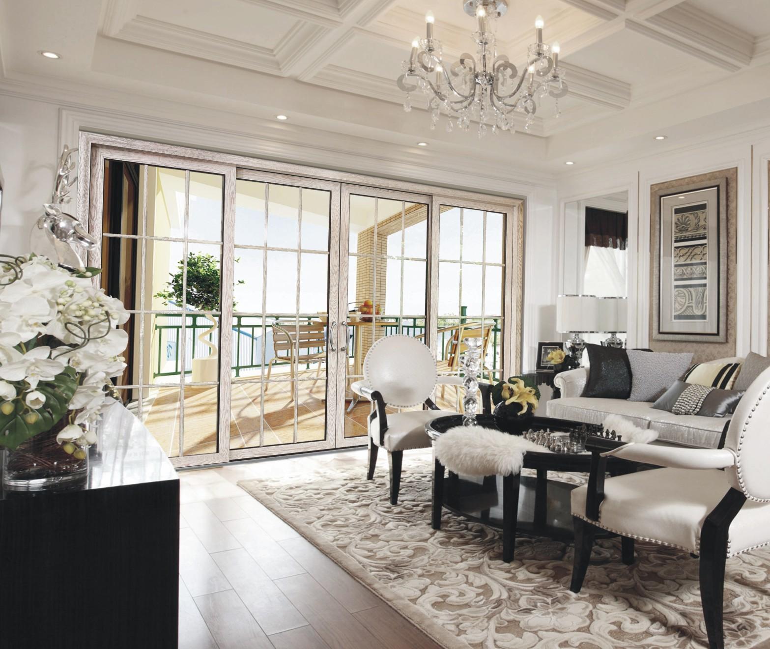 厂家供应 双钢化中空玻璃两轨四扇推拉门可做客厅阳台 英式豪华门图片