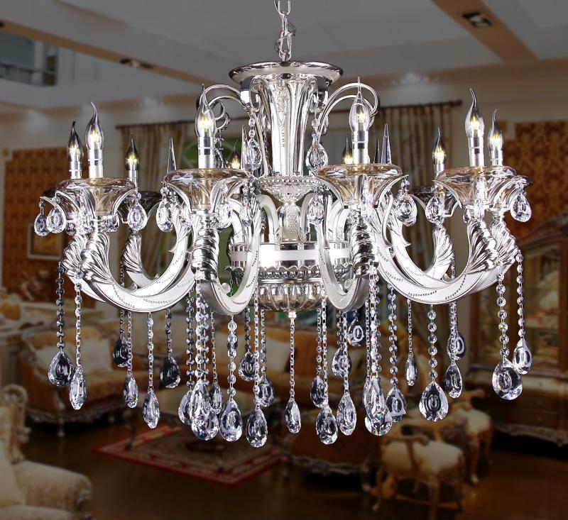 新品特惠 欧式时尚水晶灯吊灯 砂银水晶吊灯蜡烛灯