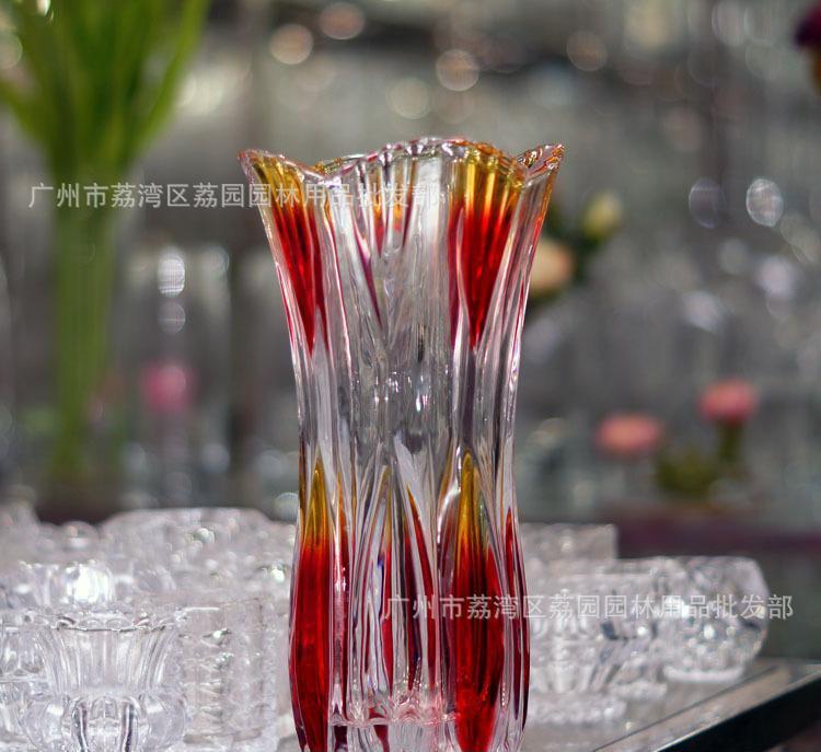 供应玻璃花瓶 凤尾花瓶水晶经典款式