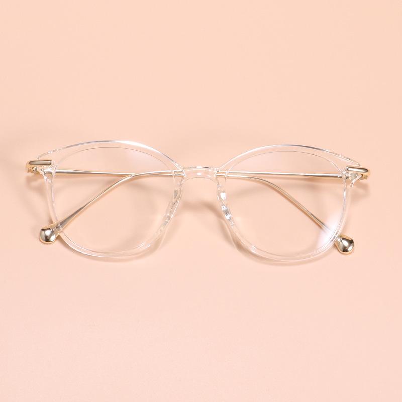 复古近视眼镜女 tr90超轻全框圆形大框细防辐射眼睛男茶色框配镜