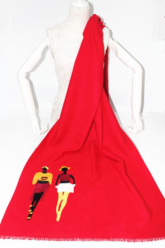秋冬新款羊绒贴画为围巾时尚女郎系列