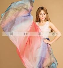 真丝长款围巾100%桑蚕丝数码喷绘真丝丝巾女防晒沙滩空调披肩送礼0