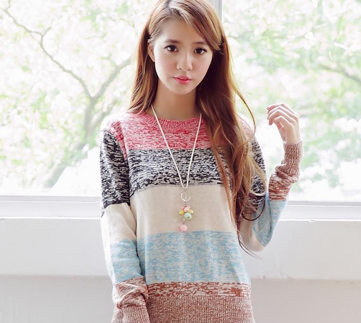 2013秋冬新款韩版甜美小清新修身条纹毛衣