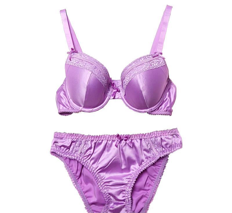 出口欧美原单 紫色仿真丝光面蕾丝边薄款文胸套装
