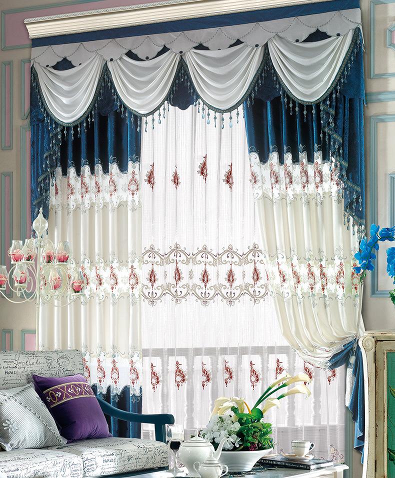 新款别墅复式**奢华绒布绣花欧式简欧客厅窗帘布成品厂家直销.