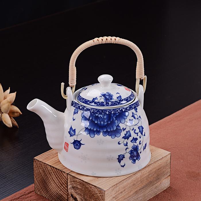 君之福陶瓷茶壶 日式青花提梁壶大号1L泡茶器 茶具礼品定制批发