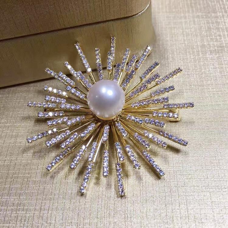 新款潮流韓版珍珠胸花爆款太陽花款珍珠鋯石款胸針 廠家直銷