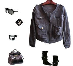 2011新款秋装 高品质HM原单欧美风拉链款短外套-咖色