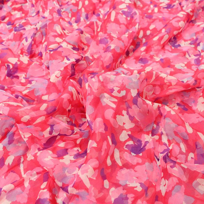 【现货】真丝雪纺雪纺印花面料-100%桑蚕丝服装面料布料