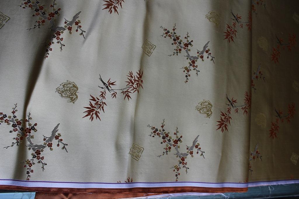 真丝三五织锦缎旗袍唐装色织提花高级订制服装面料:吉祥如意