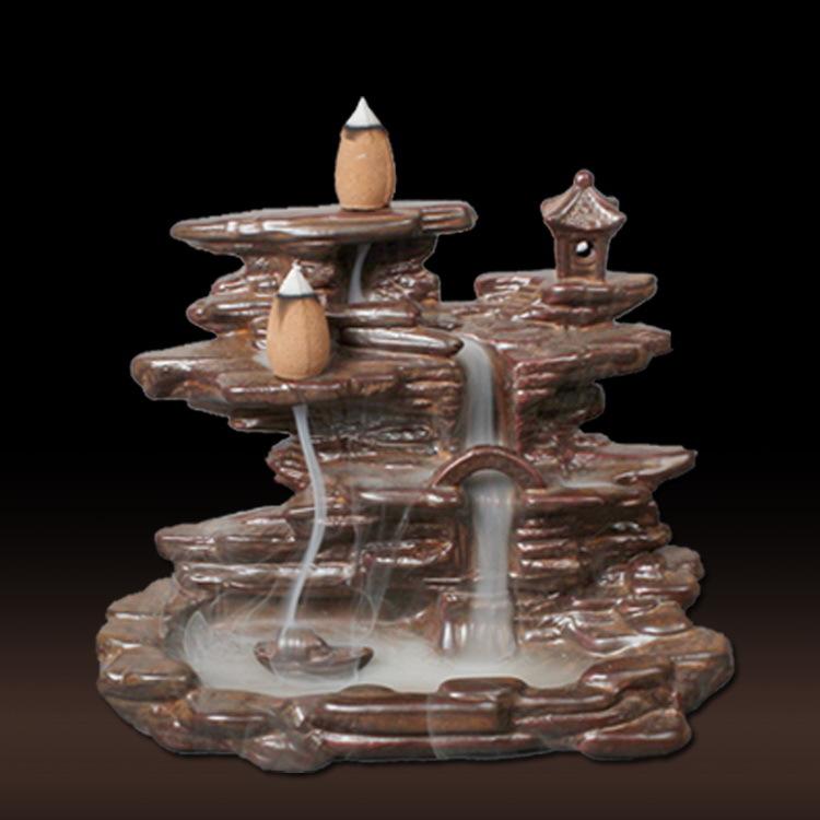 倒流香炉创意摆件精品复古茶末色釉陶瓷倒流香炉山水香道小桥流水