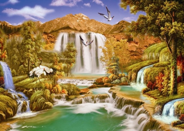欧式山水梦幻田园风景电视背景墙纸壁纸 客厅卧室大型壁画定制图片
