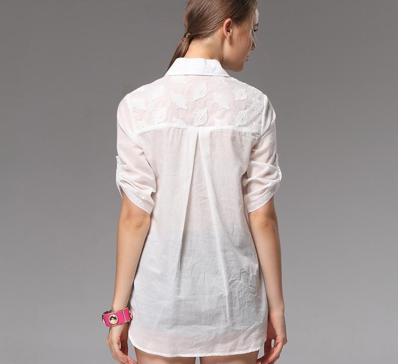 2014夏季衬衫女式新款 五分袖宽松休闲白色绣花衬衣上装女装