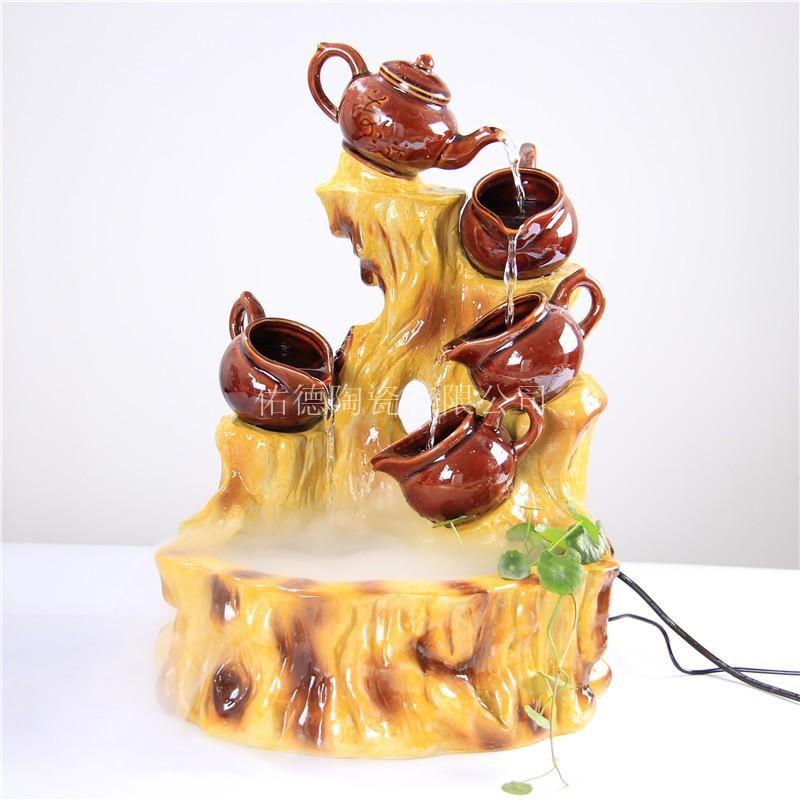 寿山福海批发创意陶瓷色釉流水雾化器风水轮水晶球办公家居定制