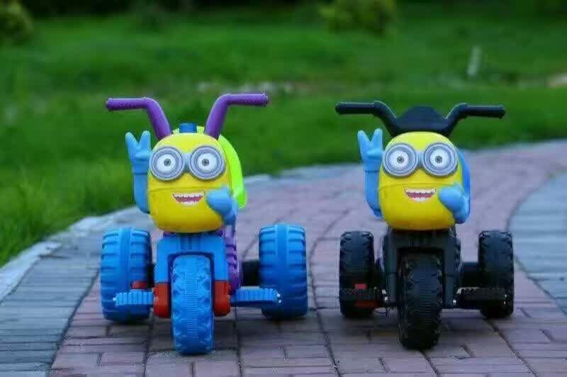 新款小黄人儿童电动摩托车儿童电动车三轮车电瓶车童车123456岁0