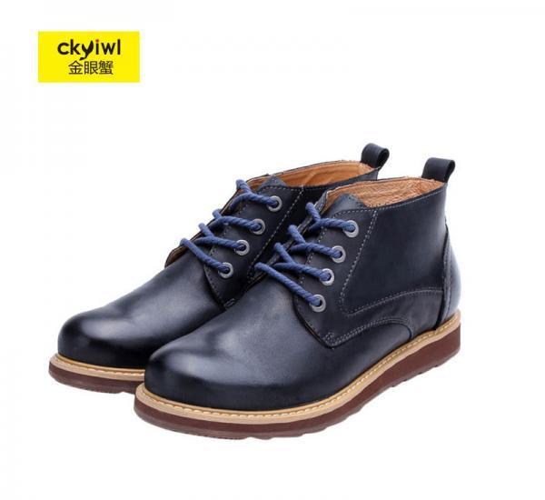 金眼蟹头层牛皮轻便舒适耐磨防滑都市经典男鞋