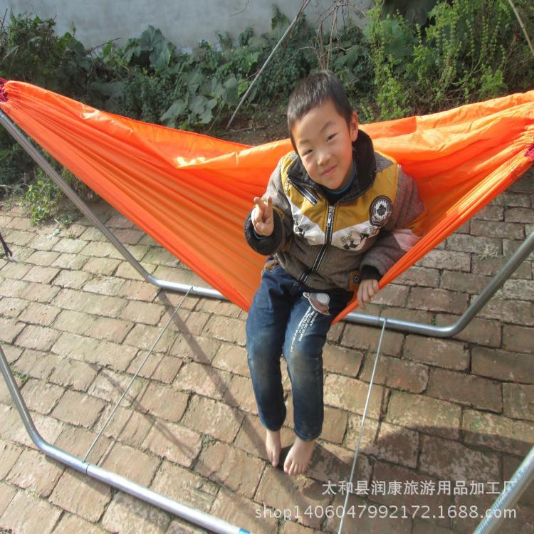 厂家批发降落伞布双人吊床新款涤丝纺布吊床户外室内创意秋千配绳