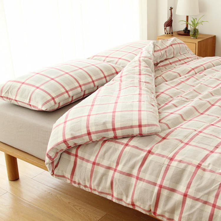 日式无印纯棉全棉水洗棉四件套被套床笠1.5 1.8米双人床品套件