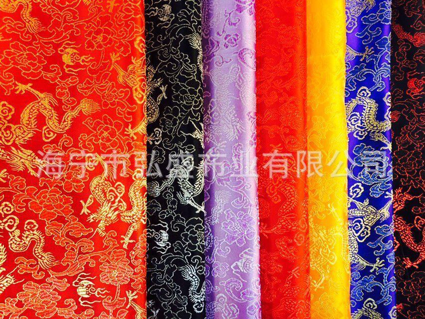 低档小龙织锦缎包装工艺品面料古装汉服面料靠垫十字绣面料提花布