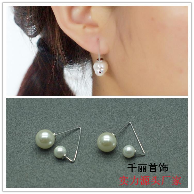 韩版甜美可爱三角形双珍珠耳环韩国时尚最新款耳钉女耳饰小饰品