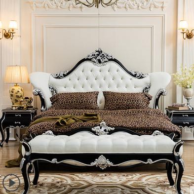 欧式床双人床 奢华新古典实木床 皮艺婚床 主卧大床太子床