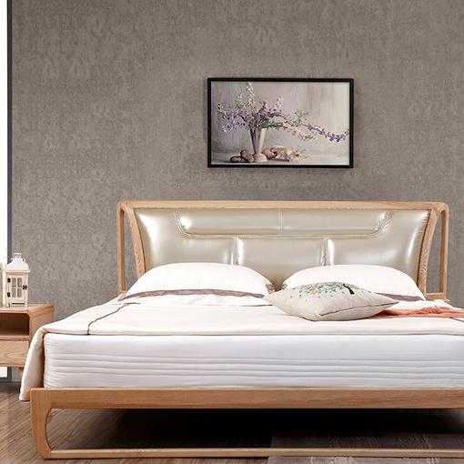 北欧全实木白蜡木软靠真皮1.51.8米双人床婚床原木色胡桃色可定制