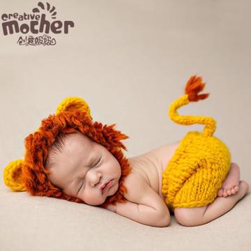 2018新款宝宝摄影服装 毛线儿童服饰 婴儿动物造型小狮子衣