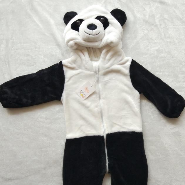 法兰绒单层春秋款熊猫连体衣立体动物哈衣婴幼儿爬服精品