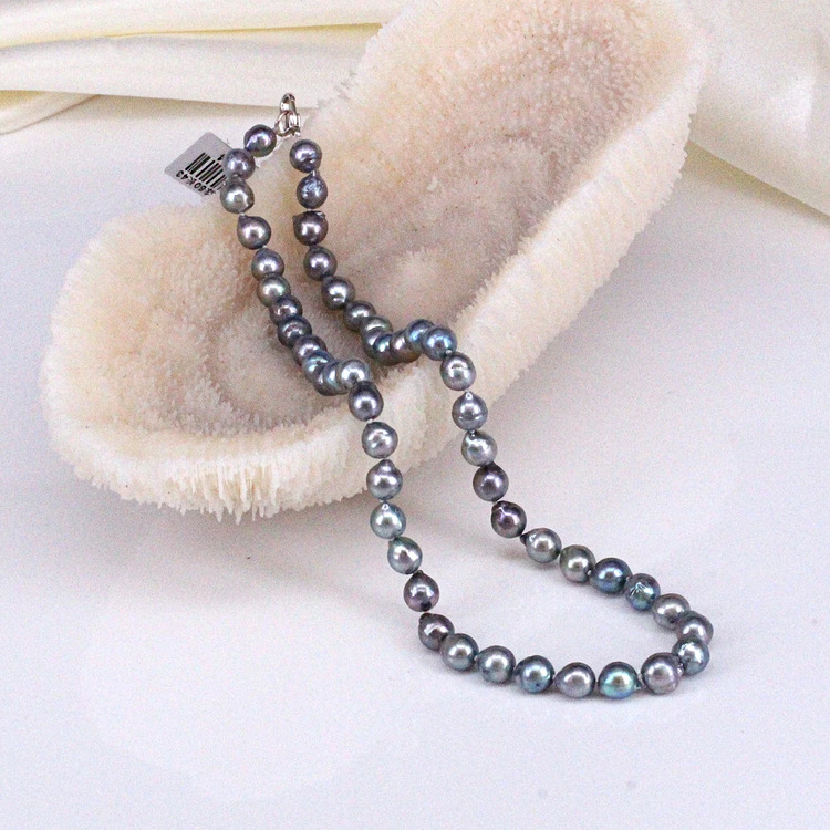 60500434-東園珠寶 黑色海水珍珠項鏈 7.5mm