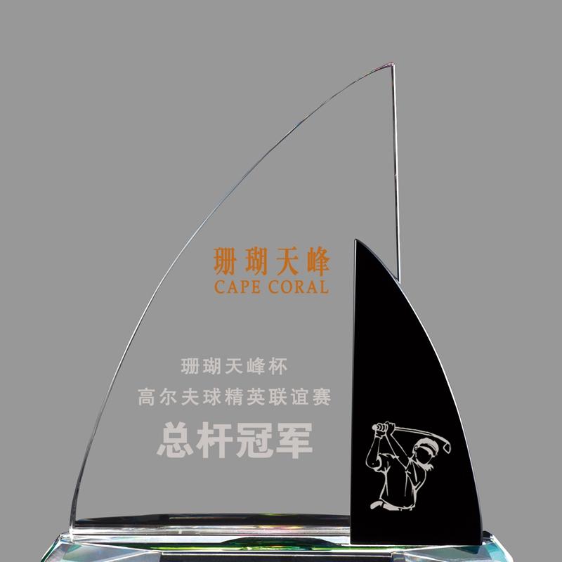 新品镀彩帆船高尔夫总杆水晶奖牌定制创意奖杯设计排版厂家直销