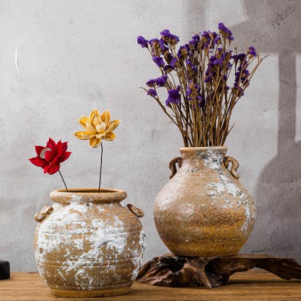 供应 粗陶陶泥复古陶瓷罐子 新中式气泡釉坛子 双耳缸