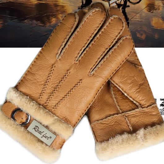 供应男士手套皮毛一体加厚超保暖秋冬季真皮羊毛羊皮户外男士分指手套