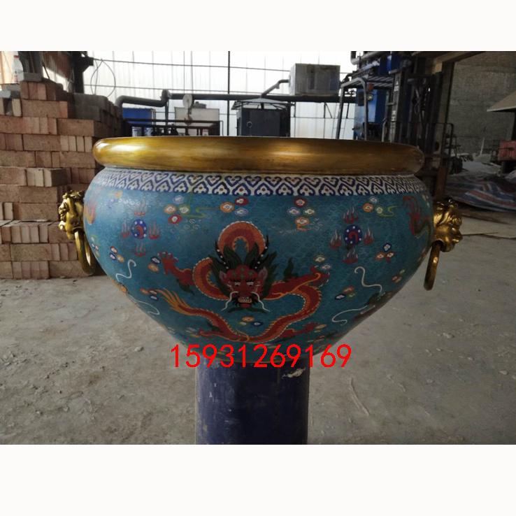 景泰蓝铜胎掐丝珐琅铜缸 水缸 鱼缸 阳台庭院客厅招财摆件