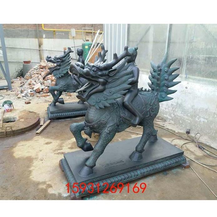 厂家定做神兽铜麒麟雕塑 青铜色送子麒麟镇宅祈福摆件