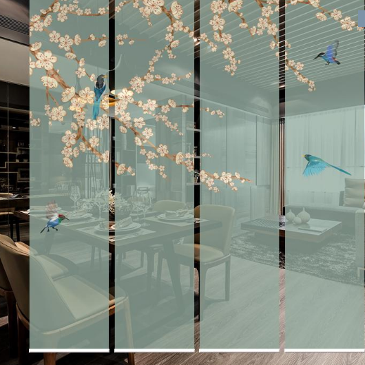 供应现代新中式唯美花鸟屏风隔断包邮国画风卧室阳台客厅厨房防水窗帘