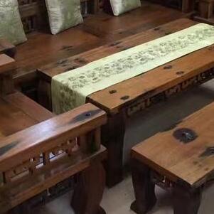 老船木沙发椅组合批发简约休闲茶桌图片实木茶台