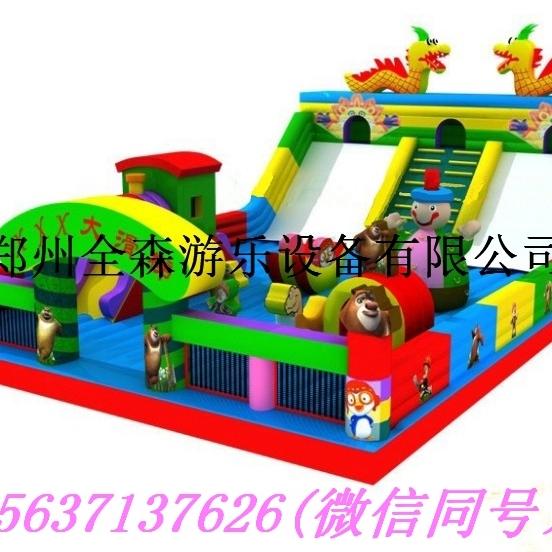 充气陆地蹦蹦床滑梯 大型充气城堡跳跳床玩具