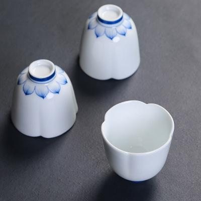供应 景德镇手绘白色茶杯陶瓷功夫茶具
