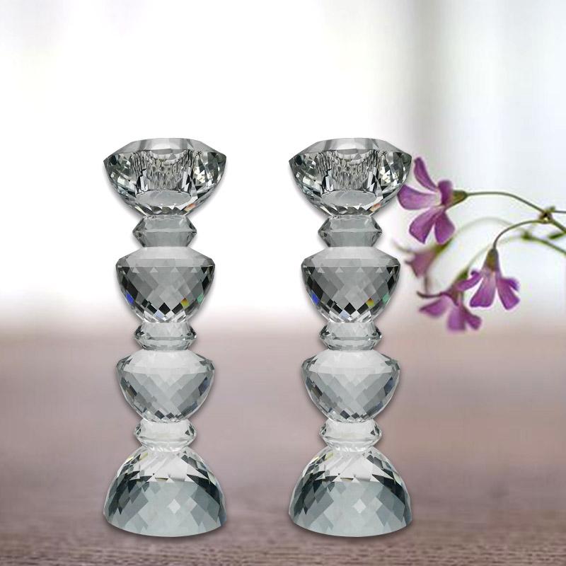 水晶烛台 水晶工艺品 K9水晶 饰品摆件