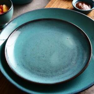 供应 橙彩家居陶瓷餐具餐厅复古西式菜盘10寸