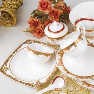 供应骨质瓷餐具 采薇 32头 高档礼品礼盒