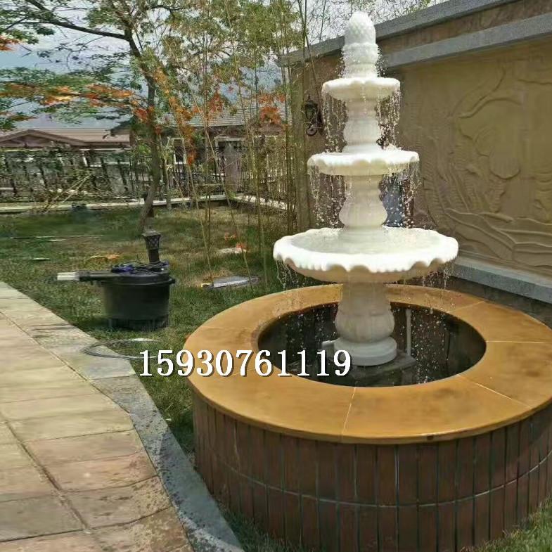 石雕喷泉汉白玉欧式景观喷泉别墅酒店叠水喷泉水钵户外水景摆件