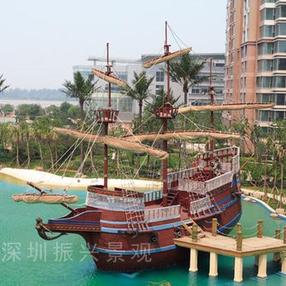 阆中市大型户外海盗船装饰船采购 景观木船 欧式仿古战船 批发优质厂家