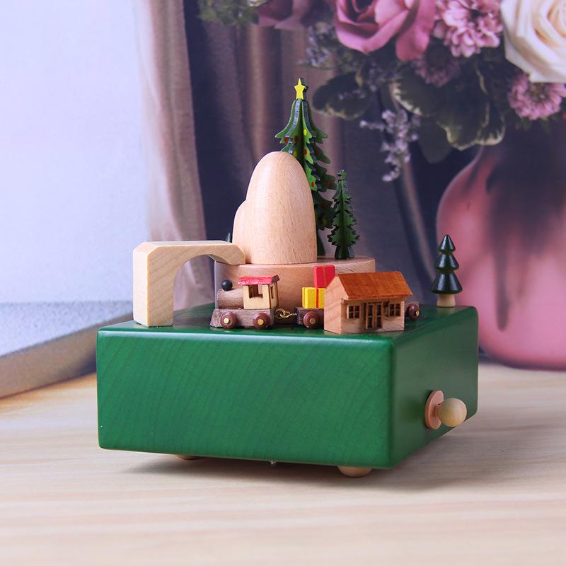 木质工艺品创意圣诞节装饰礼物企业广告礼品八音盒定制