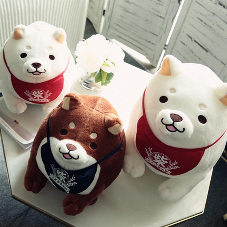 创意日本柴犬公仔萌萌可爱柴犬三兄弟胖胖小狗毛绒玩具