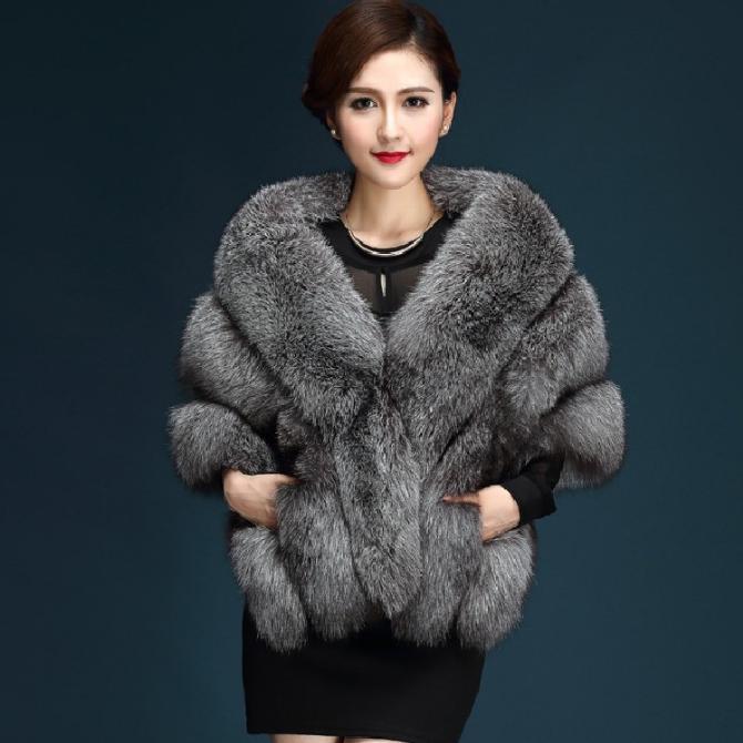 供应 秋冬新款整狐狸毛银狐仿皮草外套披肩斗篷女带口袋