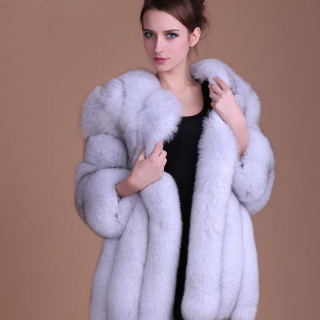 供应 新款俄罗斯狐狸毛皮草 中长款修身女装仿皮草外套